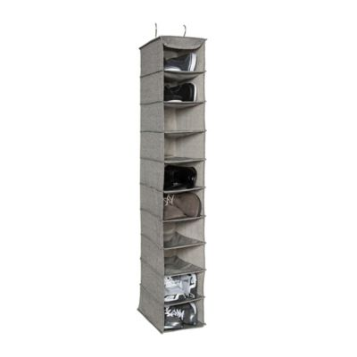 LOFT 10-Shelf Deluxe Arrow Weave Shoe Organizer in Grey