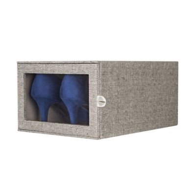 Arrow Weave Shoe Storage Box in Grey