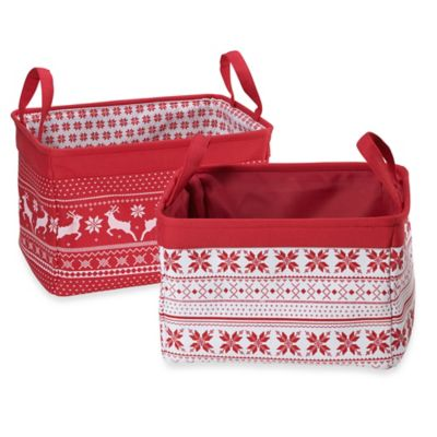 Holiday Sweater Canvas Storage Bin in Red (Set of 2)