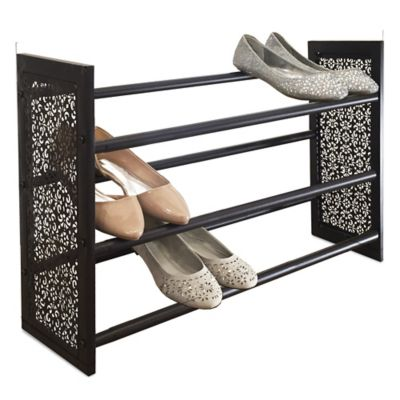 3-Tier Expandable Stamped Metal Shoe Rack in Bronze