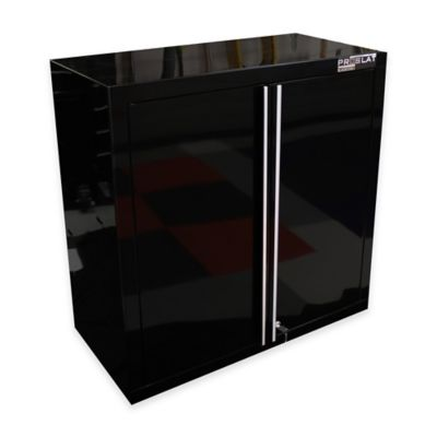 Proslat Wall/Slat-Mount Garage Cabinet in Black