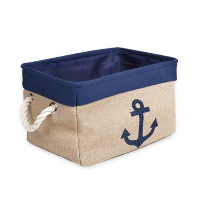 Medium Canvas Anchor Storage Bin in Blue