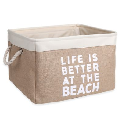 """Large Canvas """"Life is Better at the Beach"""" Storage Bin in White"""