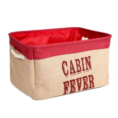 "Large Canvas ""Cabin Fever"" Storage Bin in Red"