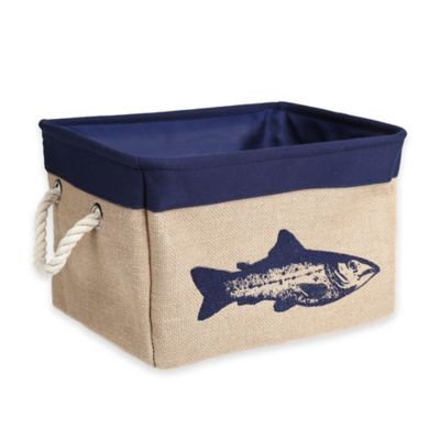 Medium Canvas Fish Storage Bin in Blue