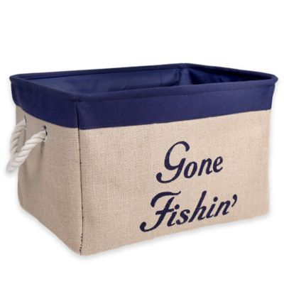 "Large Canvas ""Gone Fishin'"" Storage Bin in Blue"