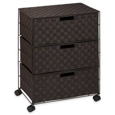 Honey-Can-Do 3-Drawer Wheeled Chest in Espresso