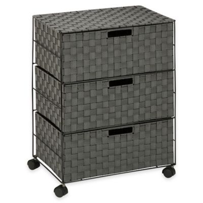 Honey-Can-Do® 3-Drawer Wheeled Chest in Black/White