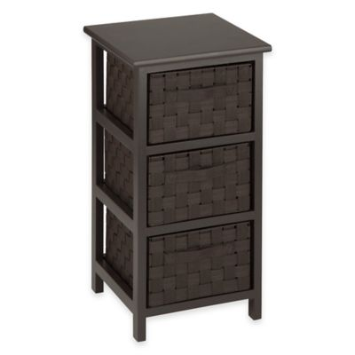 Honey-Can-Do® 3-Drawer Woven Strap Storage Chest in Espresso