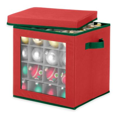 64-Count Ornament Storage Cube in Red