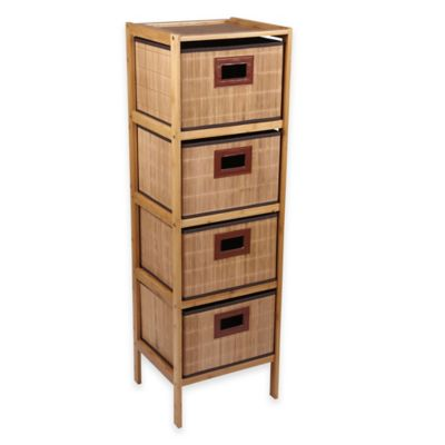 Household Essentials® 4-Drawer Bamboo Storage Tower in Natural