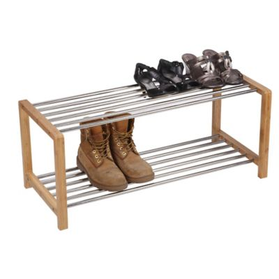 Household Essentials® Large 2-Shelf Bamboo and Steel Shoe Rack in Natural