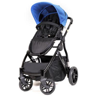 Muv REIS 4-Wheel Stroller in Satin Black/Sky