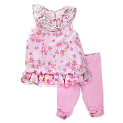 Nannette Baby® Size 0-3M Sleeveless Chiffon Floral Bubble Top and Legging Set in Pink