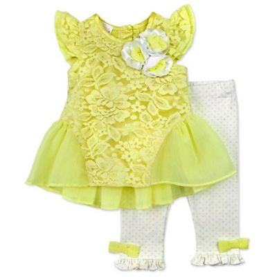 Nannette Baby® Size 0-3M 2-Piece Lace Knit Top with Flowers and Knit Dot Legging Set in Yellow