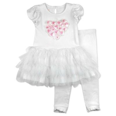 Nanette Baby® Size 0-3M 2-Piece Puff Sleeve Lace Heart Tutu Dress and Legging Set in Ivory