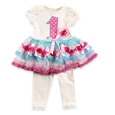 Nannette Baby® Size 9M 2-Piece 1st Birthday Tutu Dress and Legging Set in Ivory/Pink