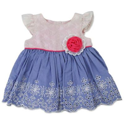 Nannette Baby® Size 0-3M 2-Piece Eyelet/Chambray Dress and Diaper Cover Set