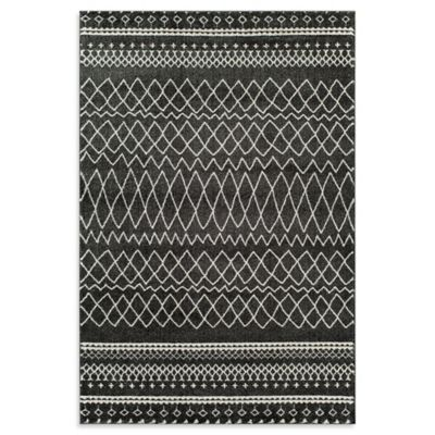 Rugs America Tangier Diamond Border3-Foot 11-Inch x 5-Foot 3-Inch Area Rug in Charcoal