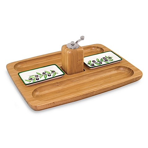 PicnicTime®Tuscano Bamboo and Ceramic Serving Set
