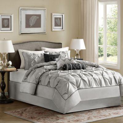 Madison Park Laurel 7-Piece King Comforter Set in Grey