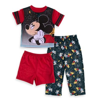Disney® Mickey Mouse 3-Piece Goodnight Short-Sleeve Pajama Set in Black