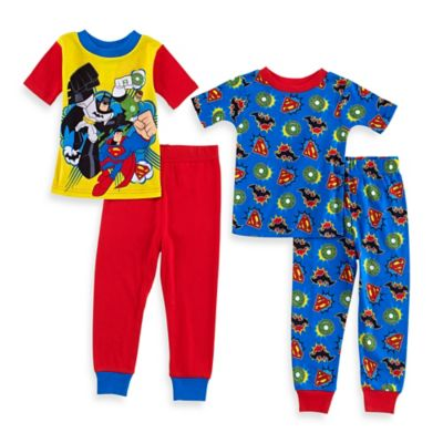 DC Comics™ Size 3T 4-Piece Superhero Friends Short-Sleeve Pajama Set in Red