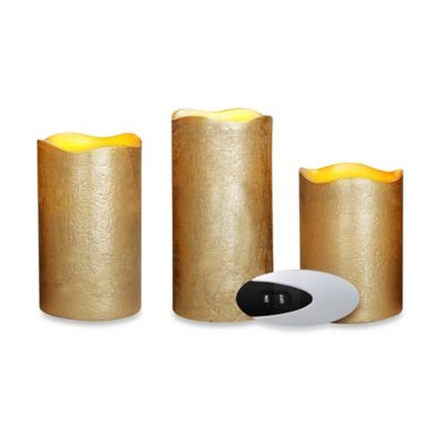 Loft Living 3-Piece Flameless LED Pillar Candle Set with Remote in Gold