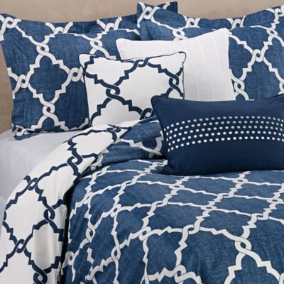 Regency Heights Merritt Reversible King Duvet Cover Set in Navy