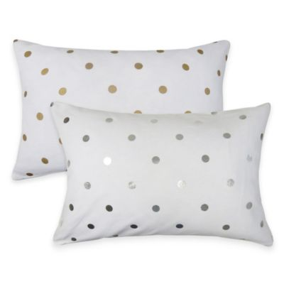 The Vintage House by Park B. Smith Dazzling Dots Oblong Throw Pillow in White/Gold