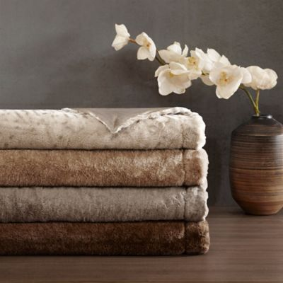 Madison Park Signature Serengeti Faux-Fur Throw in Brown