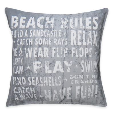 "The Vintage House by Park B. Smith ""Beach Rules"" Square Throw Pillow"