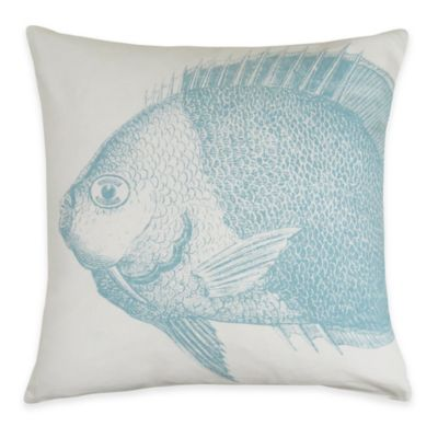 The Vintage House by Park B. Smith® Aquamarine Fish Square Throw Pillow