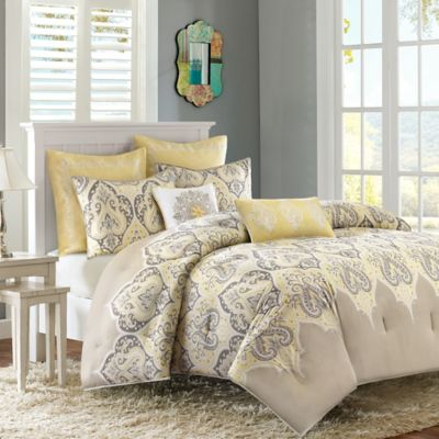 Madison Park Nisha 7-Piece King/California King Comforter Set in Yellow
