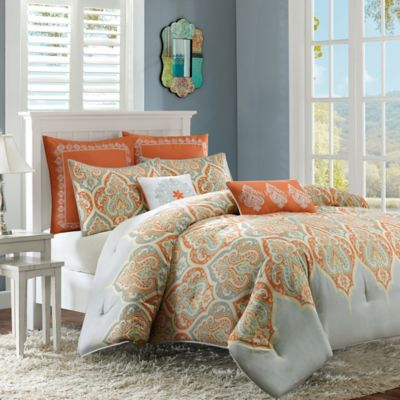 Madison Park Nisha 7-Piece King/California King Comforter Set in Orange