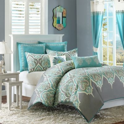 Madison Park Nisha 4-Piece Twin Duvet Cover Set in Teal