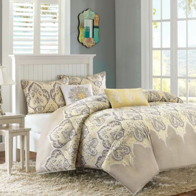 Madison Park Nisha 5-Piece Full/Queen Duvet Cover Set in Yellow