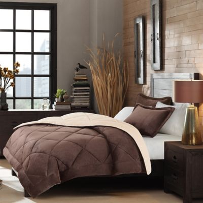 Beyond Soft Velour 2-Piece Reversible Twin Comforter Set in Tan/Brown