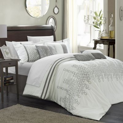 Chic Home Layla 8-Piece King Comforter Set in Black/White