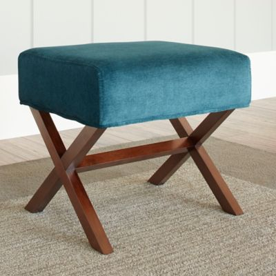 Chatham House Upholstered Ottoman with Wood Legs in Teal