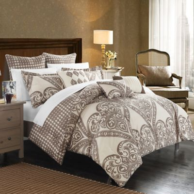 Chic Home Parma 6-Piece Reversible Twin Comforter Set in Beige