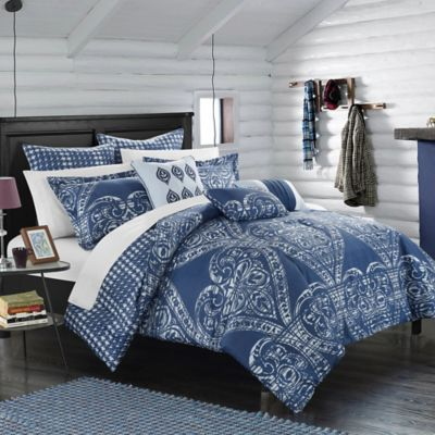 Chic Home Parma 8-Piece Reversible King Comforter Set in Navy