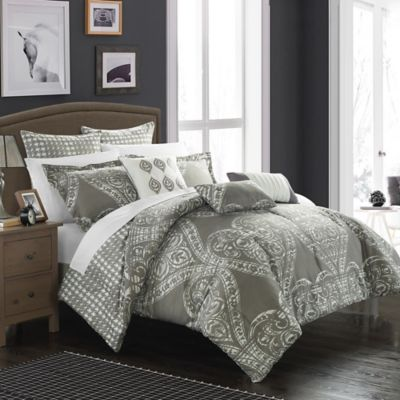 Chic Home Parma 8-Piece Reversible King Comforter Set in Silver