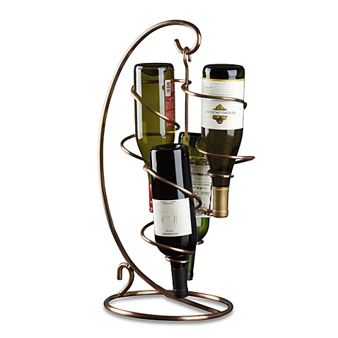 Oenophilia Copper Table Tendril 4-Bottle Wine Rack