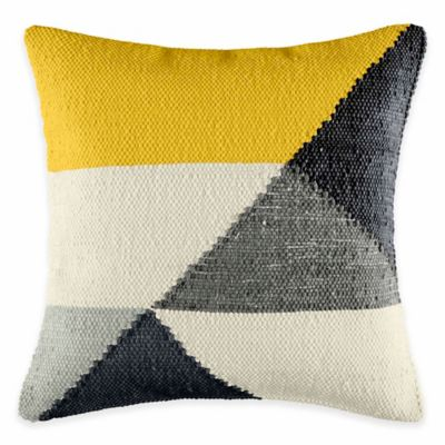 KAS Australia Latitude Vespa Throw Pillow in Yellow/Grey
