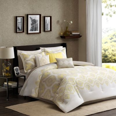 Madison Park Libreto Full/Queen Duvet Cover Set in Yellow