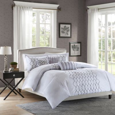 Madison Park Iris Full/Queen Duvet Cover Set in Silver