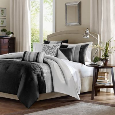 Madison Park Amherst Full/Queen Duvet Cover Set in Black/Grey