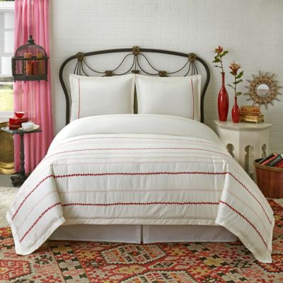 SPUN™ by Welspun Pink City Full/Queen Duvet Cover Set in White/Red