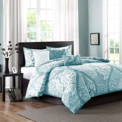 Madison Park Vienna Full/Queen Duvet Cover Set in Blue